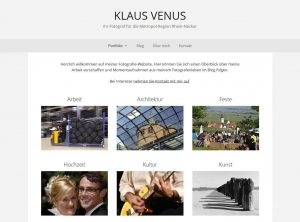 Screenshot der Website des Fotografen Klaus Venus
