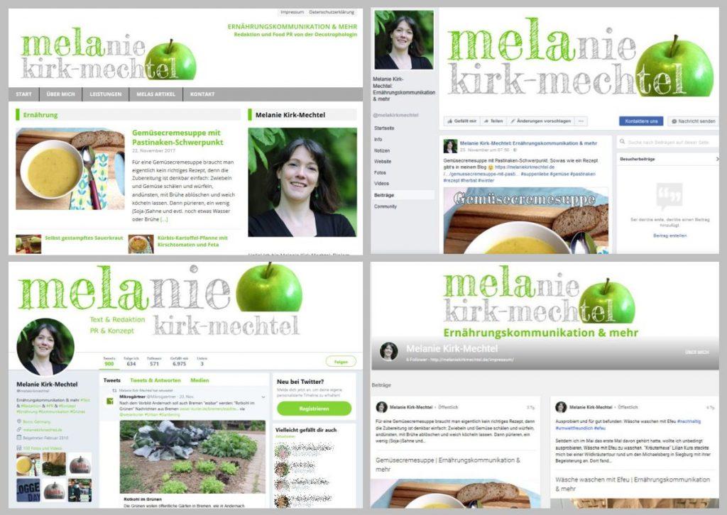 Verschiedene Webpräsenzen von Melanie Kirk-Mechtel